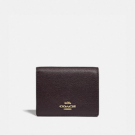 COACH SMALL SNAP WALLET - GD/OXBLOOD - 76507