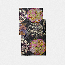 COACH 76509 Silk Oblong Scarf With Kaffe Fassett Print PURPLE/PINK