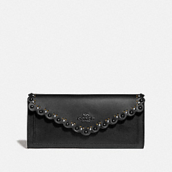 COACH 76535 Soft Wallet With Scallop Rivets BLACK/BRASS