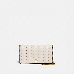 CALLIE FOLDOVER CHAIN CLUTCH WITH QUILTING AND RIVETS - 76543 - CHALK/BRASS