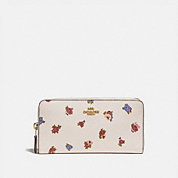 COACH 76559 - ACCORDION ZIP WALLET WITH VINTAGE ROSEBUD PRINT CHALK MULTI/GOLD