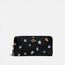 COACH 76559 - ACCORDION ZIP WALLET WITH VINTAGE ROSEBUD PRINT BLACK MULTI/GUNMETAL