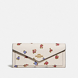 COACH 76571 - SOFT WALLET WITH VINTAGE ROSEBUD PRINT CHALK MULTI/GOLD