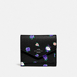 COACH 76572 - SMALL WALLET WITH VINTAGE ROSEBUD PRINT BLACK MULTI/GUNMETAL