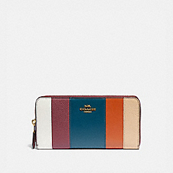 COACH 76587 - ACCORDION ZIP WALLET WITH PATCHWORK STRIPES OXBLOOD MULTI/BRASS