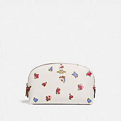 COACH 76607 - COSMETIC CASE 17 WITH VINTAGE ROSEBUD PRINT CHALK MULTI/GOLD
