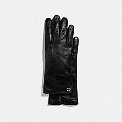 COACH 76609 - SCULPTED SIGNATURE LEATHER TECH GLOVES BLACK