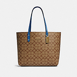 COACH 76636 Town Tote In Signature Canvas IM/KHAKI DEEP ATLANTIC