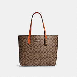 COACH 76636 - TOWN TOTE IN SIGNATURE CANVAS IM/KHAKI SEDONA