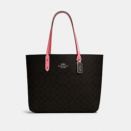 COACH 76636 TOWN TOTE IN SIGNATURE CANVAS QB/BROWN PINK LEMONADE
