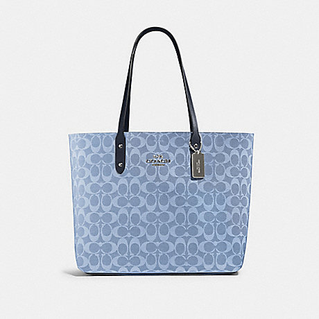COACH 76636 TOWN TOTE IN SIGNATURE CANVAS SV/LIGHT DENIM MIDNIGHT