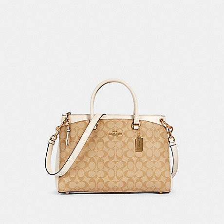 COACH 76643 MIA SATCHEL IN SIGNATURE CANVAS IM/LIGHT-KHAKI-CHALK