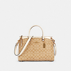 MIA SATCHEL IN SIGNATURE CANVAS - 76643 - IM/LIGHT KHAKI CHALK