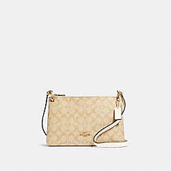 MIA CROSSBODY IN SIGNATURE CANVAS - 76646 - IM/LIGHT KHAKI CHALK
