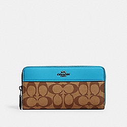 COACH 76873 - ACCORDION ZIP WALLET IN SIGNATURE CANVAS SV/KHAKI/AQUA
