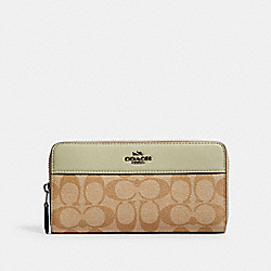 COACH 76873 - ACCORDION ZIP WALLET IN SIGNATURE CANVAS SV/LIGHT KHAKI/PALE GREEN