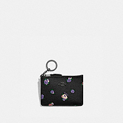 COACH 76981 - MINI SKINNY ID CASE WITH VINTAGE ROSEBUD PRINT BLACK MULTI/GUNMETAL