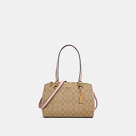 COACH 77881 ETTA CARRYALL IN SIGNATURE CANVAS IM/LIGHT-KHAKI-BLOSSOM