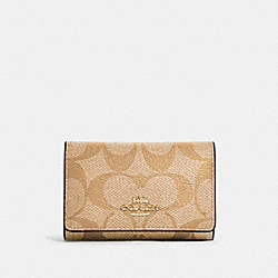 COACH 77998 - FIVE RING KEY CASE IN SIGNATURE CANVAS IM/LIGHT KHAKI ROSE