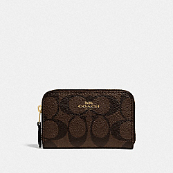 COACH 78005 - ZIP AROUND COIN CASE IN SIGNATURE CANVAS IM/BROWN BLACK