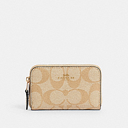 COACH 78005 - ZIP AROUND COIN CASE IN SIGNATURE CANVAS IM/LIGHT KHAKI CHALK