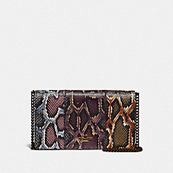 CALLIE FOLDOVER CHAIN CLUTCH IN COLORBLOCK SNAKESKIN - 78060 - MULTICOLOR/PEWTER