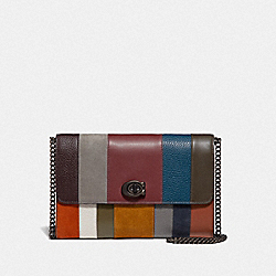 COACH 78061 - MARLOW TURNLOCK CHAIN CROSSBODY WITH PATCHWORK STRIPES OXBLOOD MULTI/PEWTER