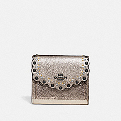 COACH 78109 Small Wallet With Scallop Rivets GM/PLATINUM