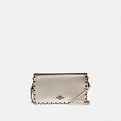 HAYDEN FOLDOVER CROSSBODY CLUTCH WITH SCALLOP RIVETS - 78132 - GM/PLATINUM