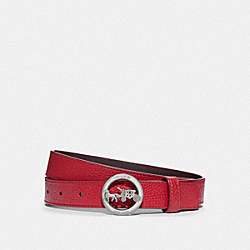 HORSE AND CARRIAGE BUCKLE BELT, 25MM - 78181 - SV/TRUE RED OXBLOOD