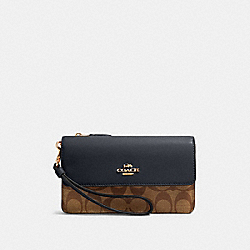 COACH 78229 Foldover Wristlet In Signature Canvas IM/KHAKI MIDNIGHT