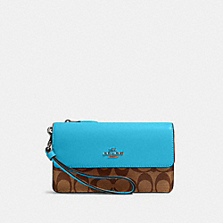 COACH 78229 - FOLDOVER WRISTLET IN SIGNATURE CANVAS SV/KHAKI/AQUA