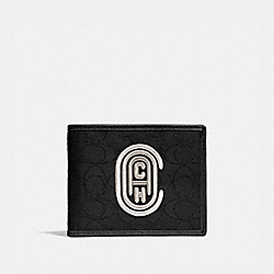 DOUBLE BILLFOLD WALLET IN SIGNATURE JACQUARD WITH COACH PATCH - 78338 - BLACK/CHALK
