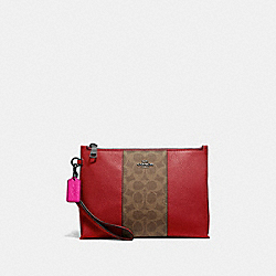 COACH 78372 Charlie Pouch With Signature Canvas Blocking V5/TAN RED APPLE