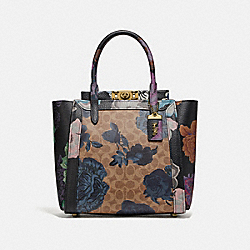 COACH 78460 Troupe Tote In Signature Canvas With Kaffe Fassett Print TAN BLUE MULTI/BRASS