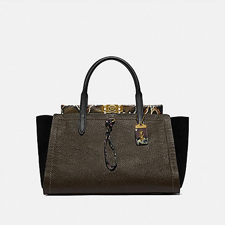 COACH TROUPE CARRYALL 35 IN COLORBLOCK WITH SNAKESKIN DETAIL - ARMY GREEN MULTI/BRASS - 78485