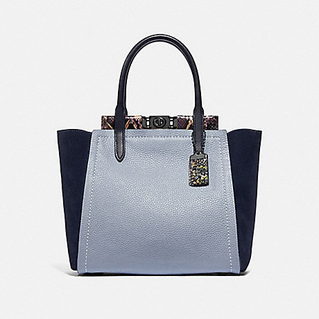 COACH 78486 TROUPE TOTE IN COLORBLOCK WITH SNAKESKIN DETAIL MIST-MULTI/PEWTER