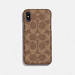 IPHONE X/XS CASE IN SIGNATURE CANVAS - TAN - COACH 78508