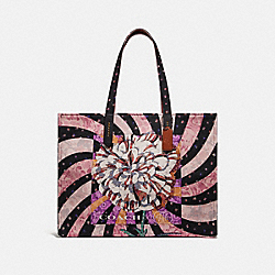 COACH 78511 - TOTE 42 WITH KAFFE FASSETT PRINT CREAM/PEWTER