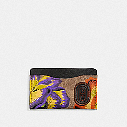 COACH 78554 Small Card Case In Signature Canvas With Kaffe Fassett Print V5/TAN MULTI