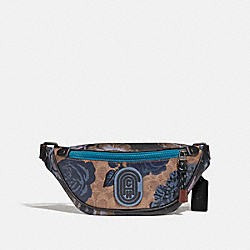 COACH 78563 - MINI RIVINGTON BELT BAG IN SIGNATURE CANVAS WITH KAFFE FASSETT PRINT V5/TAN BLUE MULTI
