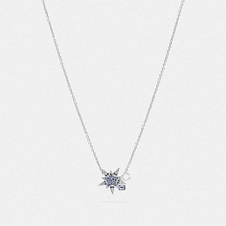COACH 78582 SIGNATURE STAR NECKLACE SILVER/BLUE