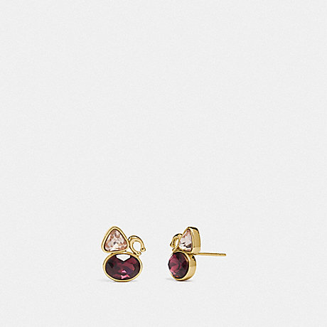 COACH SIGNATURE CRYSTAL CLUSTER STUD EARRINGS - GOLD/RED - 78599