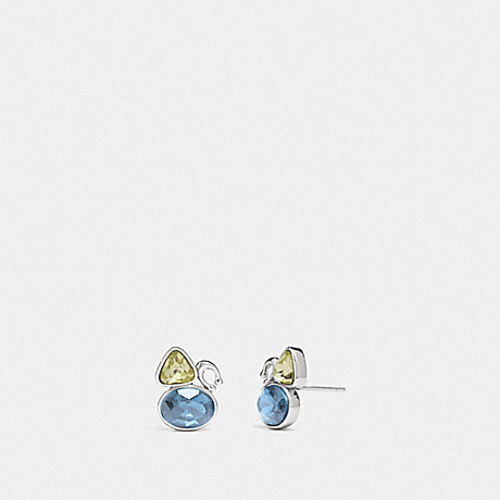 COACH SIGNATURE CRYSTAL CLUSTER STUD EARRINGS - SILVER/BLUE - 78599