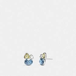 COACH 78599 - SIGNATURE CRYSTAL CLUSTER STUD EARRINGS SILVER/BLUE