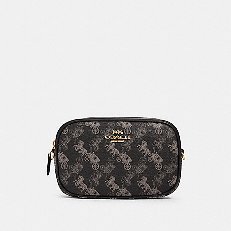 COACH 78603 CONVERTIBLE BELT BAG WITH HORSE AND CARRIAGE PRINT IM/BLACK GREY MULTI