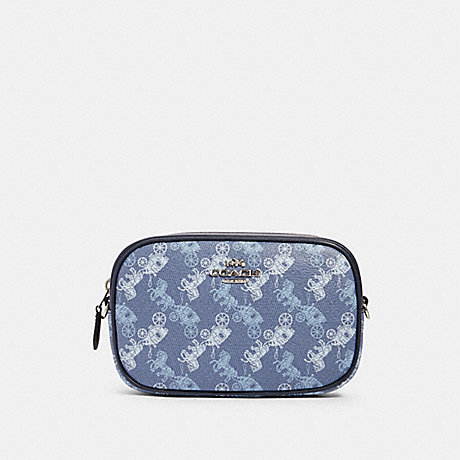COACH 78603 CONVERTIBLE BELT BAG WITH HORSE AND CARRIAGE PRINT SV/INDIGO-PALE-BLUE-MULTI