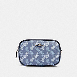 CONVERTIBLE BELT BAG WITH HORSE AND CARRIAGE PRINT - 78603 - SV/INDIGO PALE BLUE MULTI