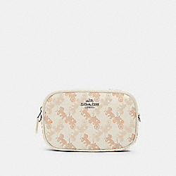 CONVERTIBLE BELT BAG WITH HORSE AND CARRIAGE PRINT - 78603 - SV/CREAM BEIGE MULTI
