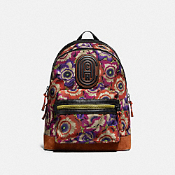 ACADEMY BACKPACK WITH KAFFE FASSETT PRINT AND COACH PATCH - 78615 - JI/ORANGE/PURPLE